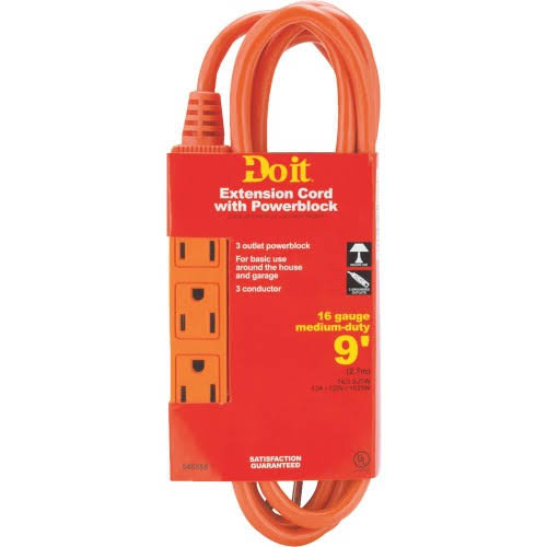 Woods Import Do It Triple Tap Extension Cord - 16 Gauge, 9'