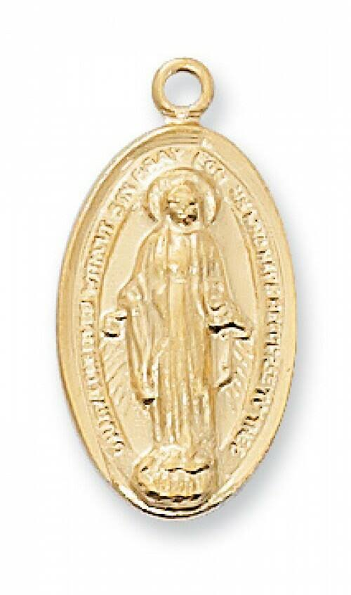 Gold Over Sterling Miraculous Medal Pendant