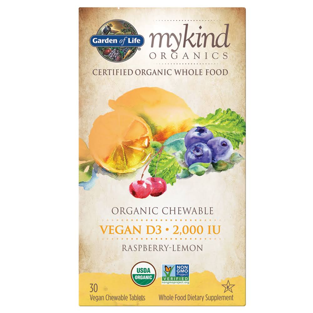 Garden of Life Vitamin D3 Mykind Vegan Organic D Vitamin Whole Food Supplement - 30ct