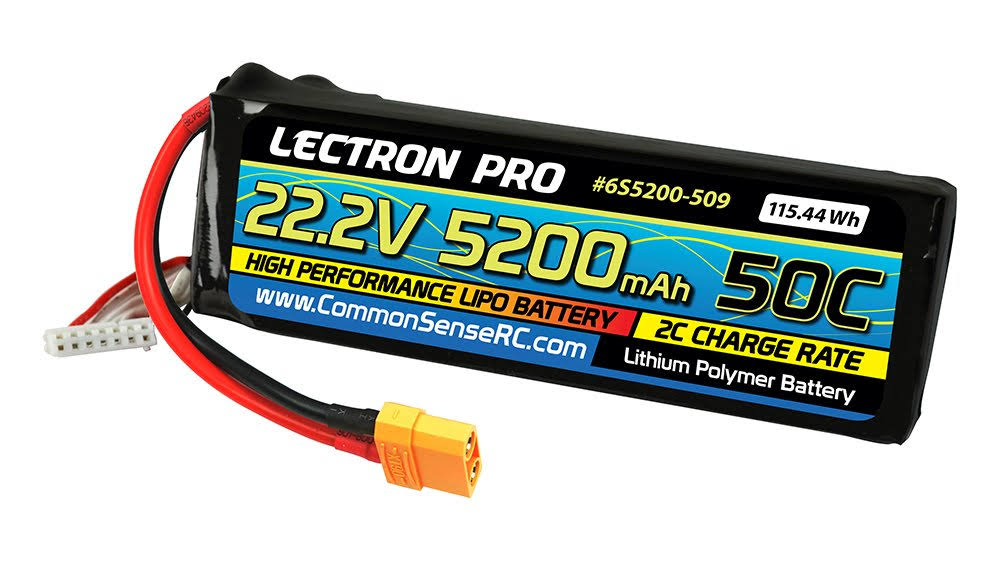 Lectron Pro 22.2V 5200mah 50C Lipo Battery with XT90 Connector for Large Planes Helis Quads & 1/8 Trucks