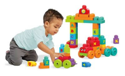 Mega Bloks ABC Learning Train Building Set For Toddlers, 20-piece Playset