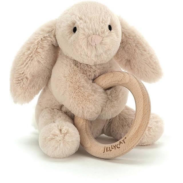 Jellycat Shooshu Bunny Wooden Ring Toy - 14cm