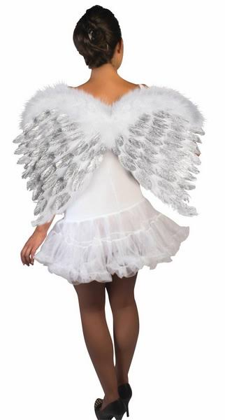 Women's Feather Angel Wings Costume - White With Silver Glitter