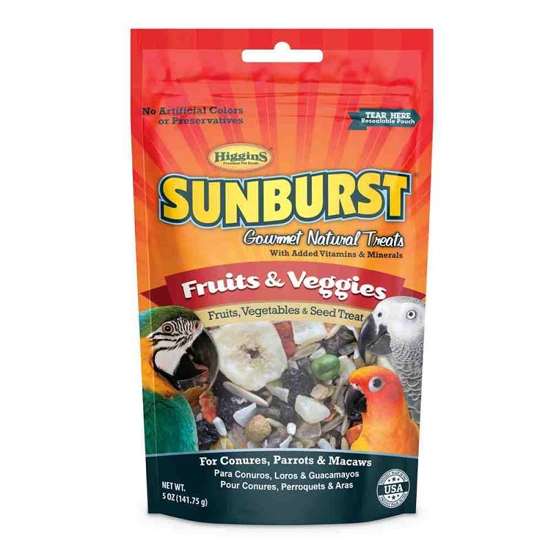 Higgins Sunburst Conures Parrots Macaws Fruits and Veggies Gourmet Treats - 5oz