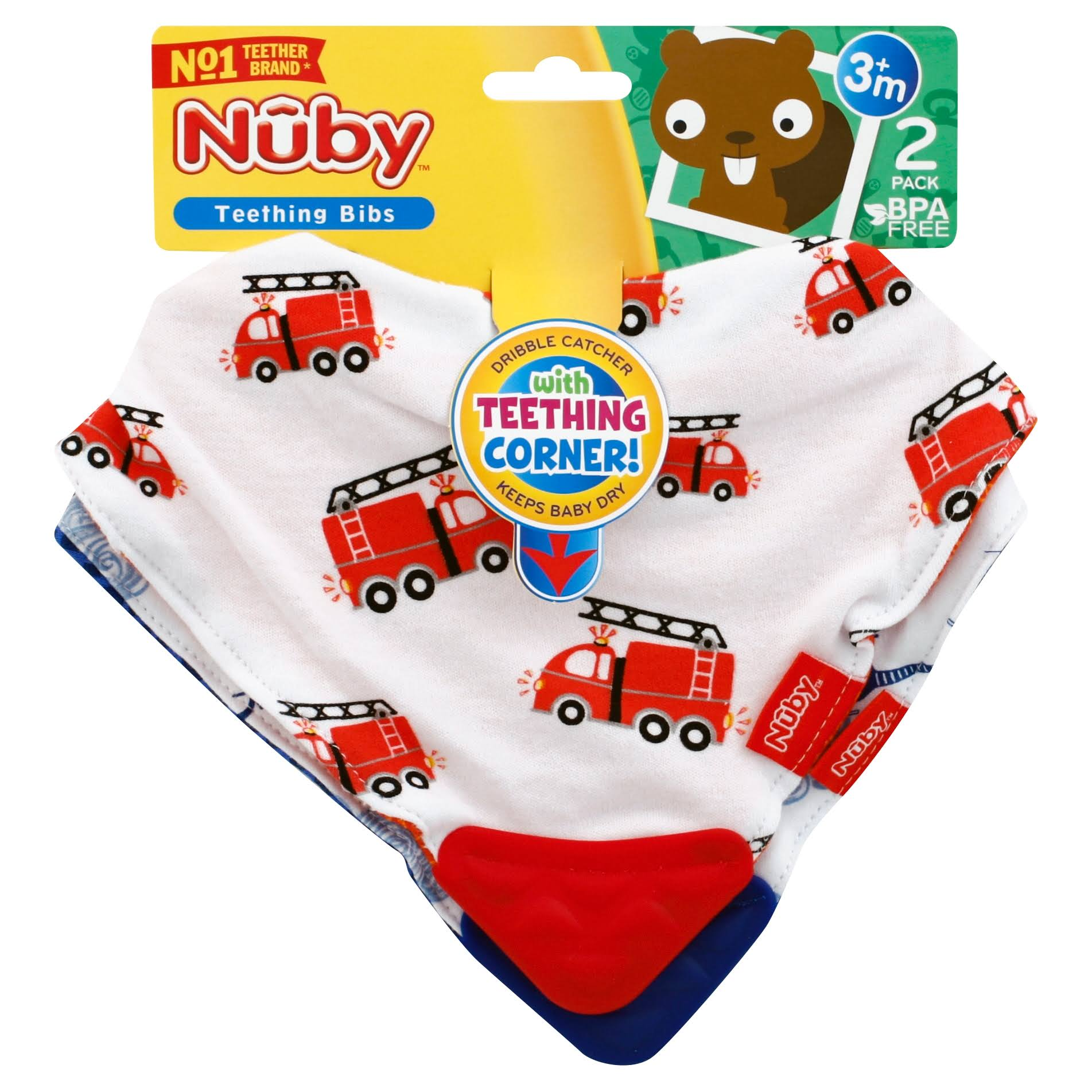 Nuby Teething Bibs, 3+ Months, 2 Pack - 2 bibs