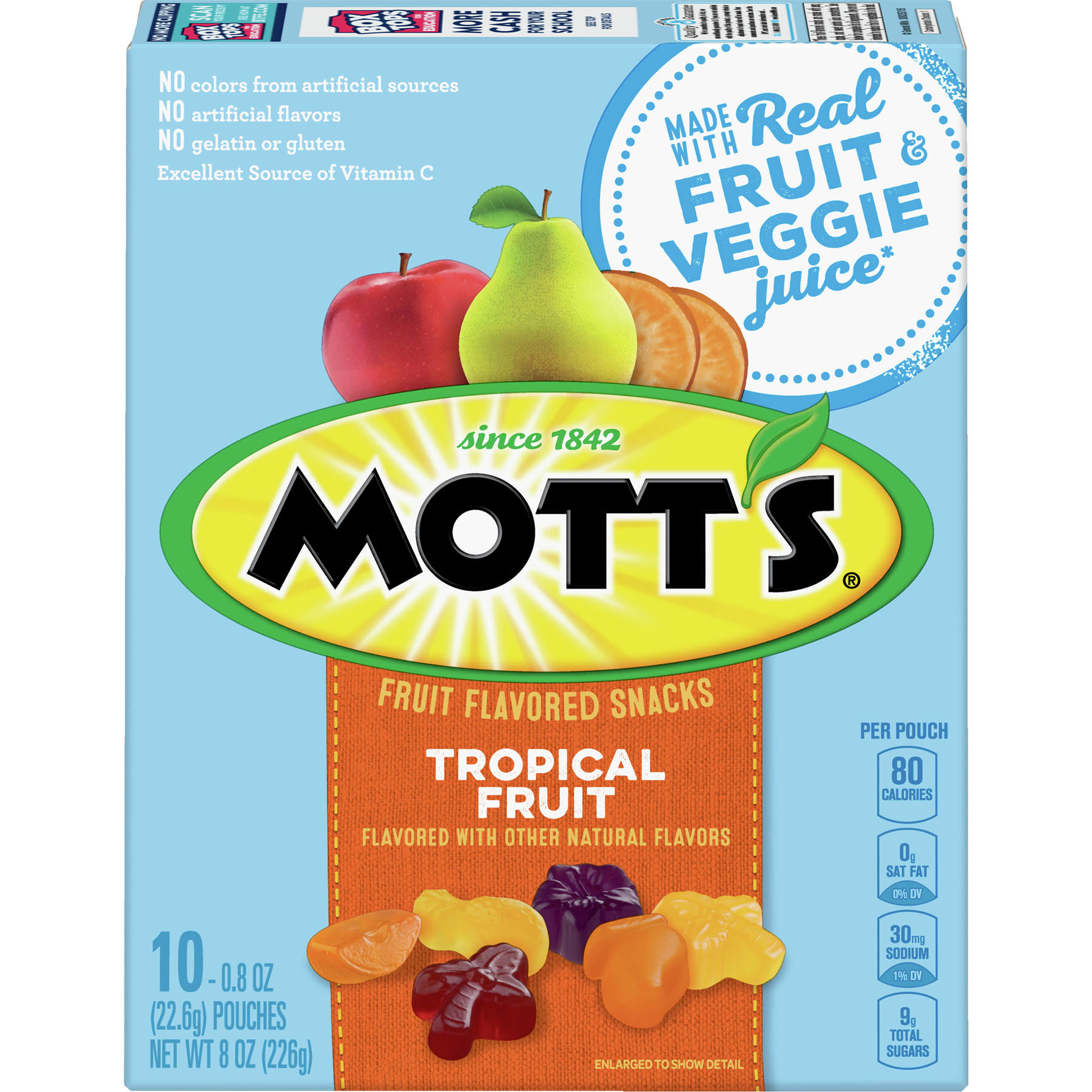 Motts Fruit Flavored Snacks, Tropical Fruit - 10 pack, 0.8 oz pouches