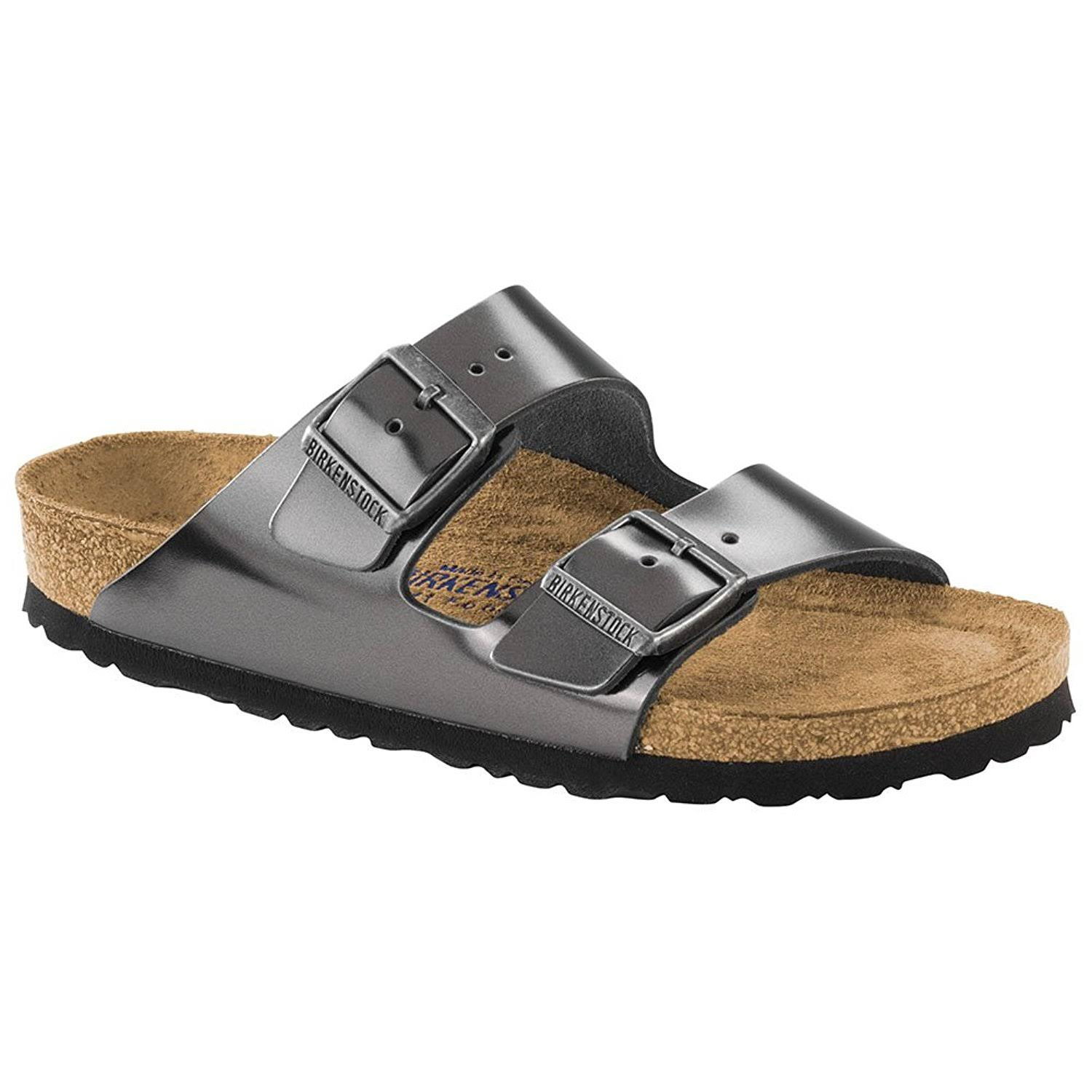Birkenstock Arizona Soft Footbed Sandal - Size 37, Metallic