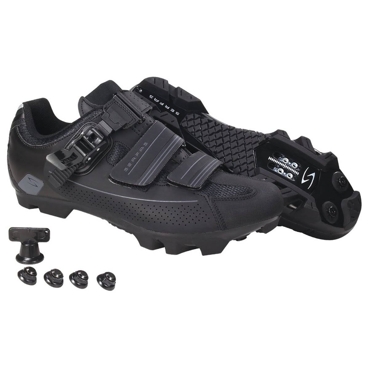 Serfas Men's Switchback Buckle Mountain Bike Shoe - Black, 42 EU