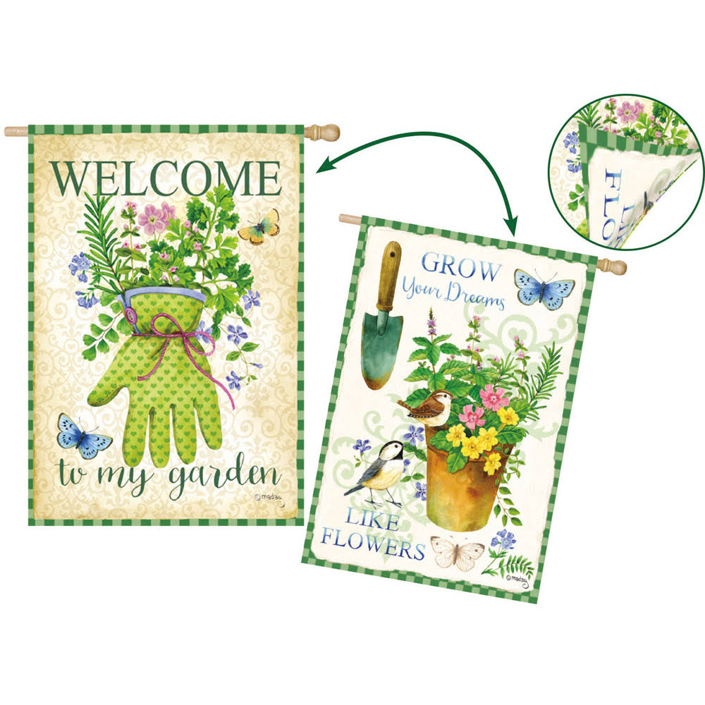 Evergreen Flag Herb Garden House Flag