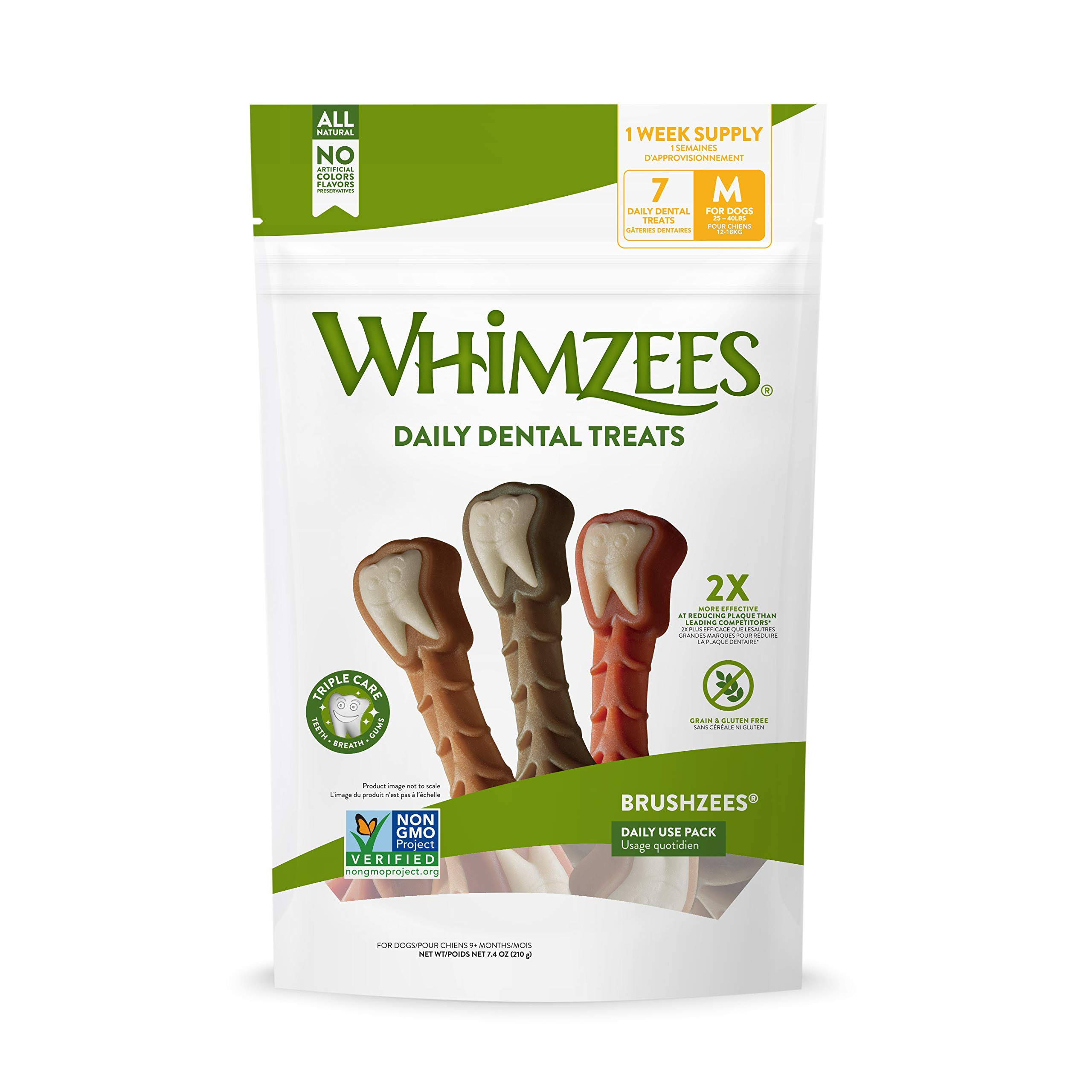 Whimzees Natural Grain Free Daily Dental Dog Treats - Medium, 7.4oz