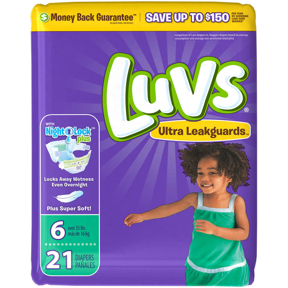 Luvs Ulta Leakguards Diapers Night Lock - 21 Diapers