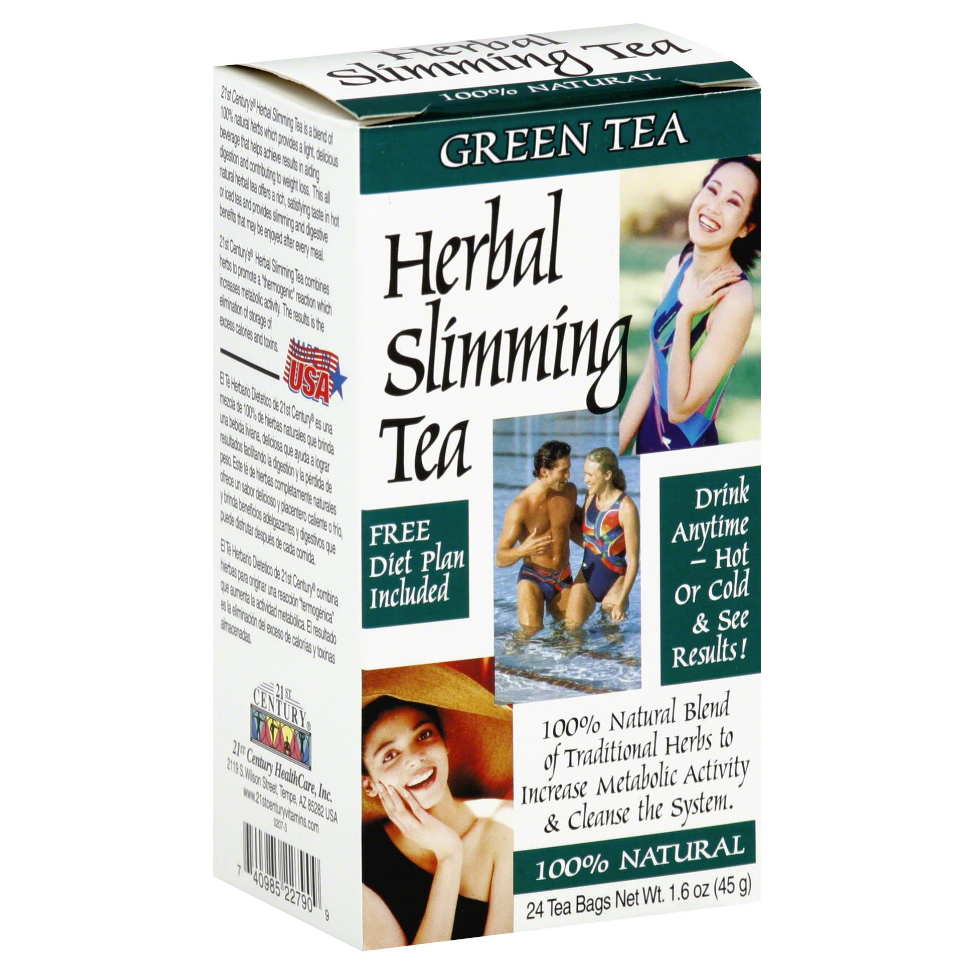 21ST Century Herbal Slimming Tea - Caffeine Free, Green Tea, 24ct, 1.60z
