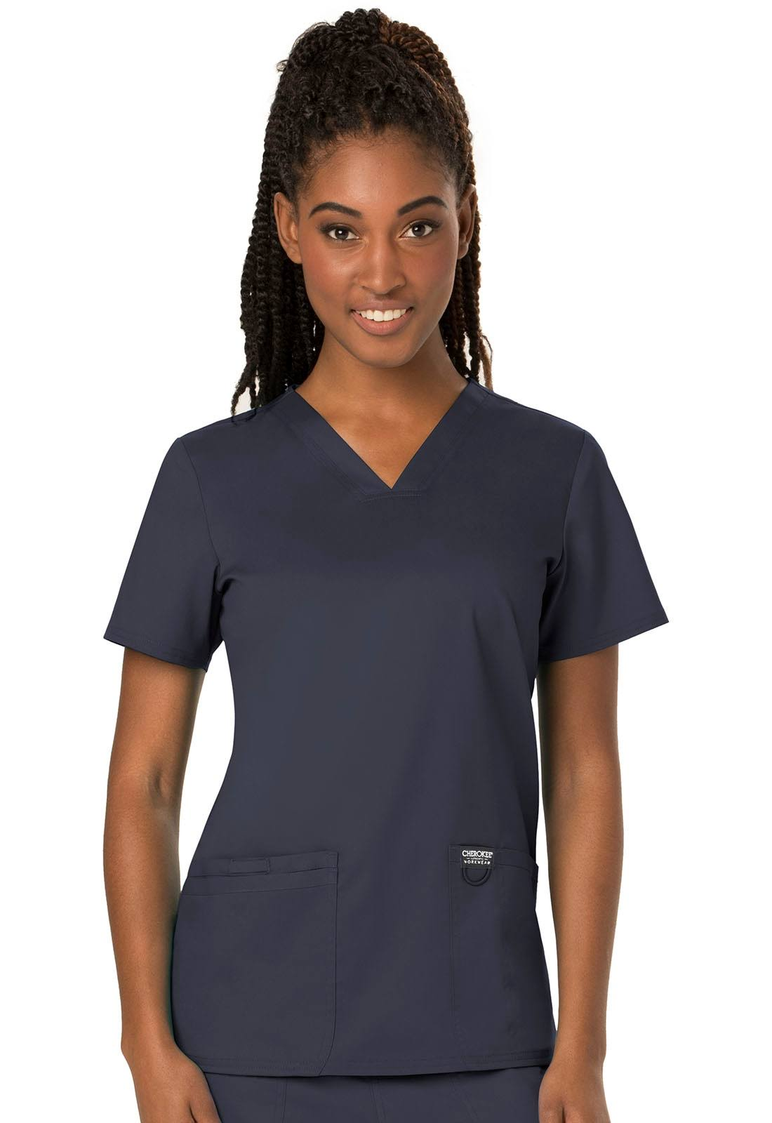 Cherokee Workwear Revolution V-Neck Scrub Top - Pewter XS