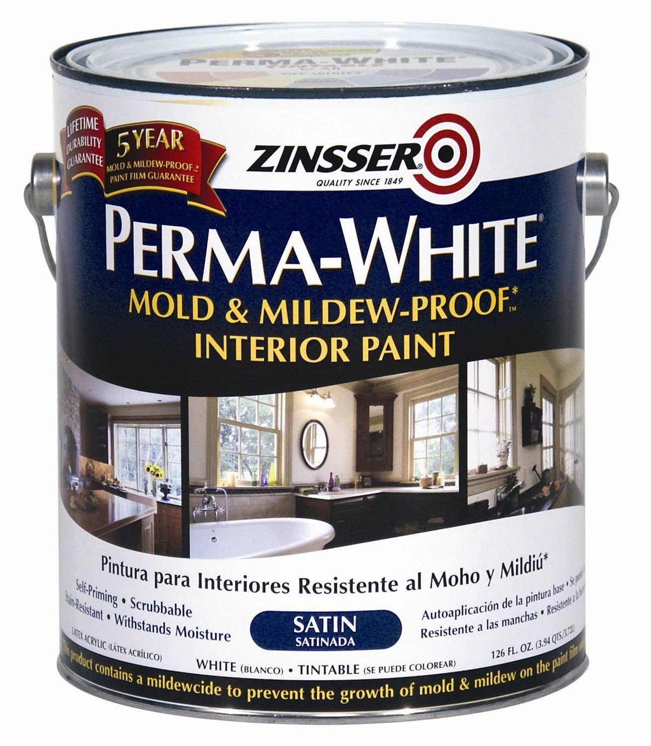 Zinsser Perma White Mold and Mildew Proof Interior Paint - Satin White, 1 Gallon