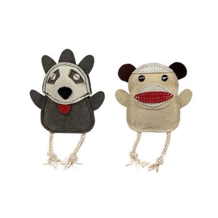 Huggle Hounds 51003796 Leather Wee Sock Monkey & Raccoon Toy - Pack of 2