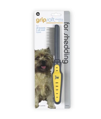 JW Pet Company GripSoft Shedding Comb for Dogs