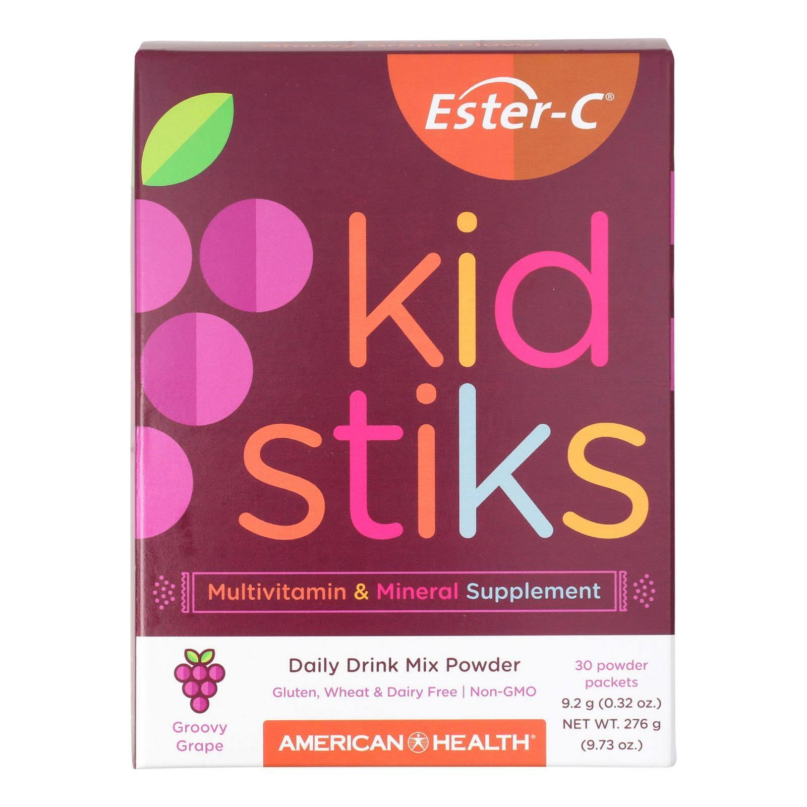 Ester-c Kidstiks Powder Sticks Supplement - Groovy Grape, 250mg, 30pk