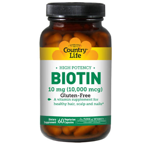 Country Life Biotin - 10mg, 60 Vegetarian Capsules