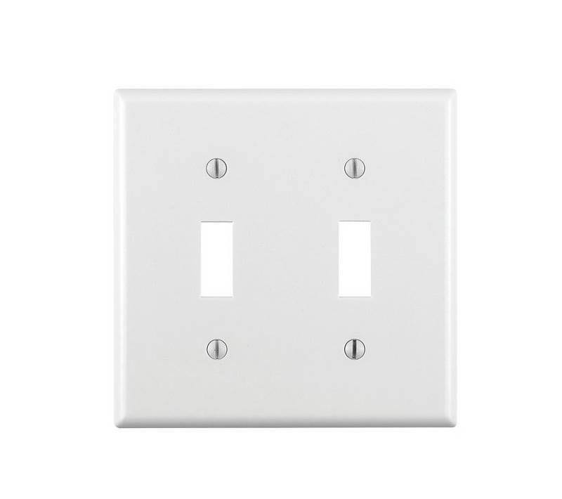 Leviton 2-Gang Toggle Switch Standard Thermostat Wall Plate - White