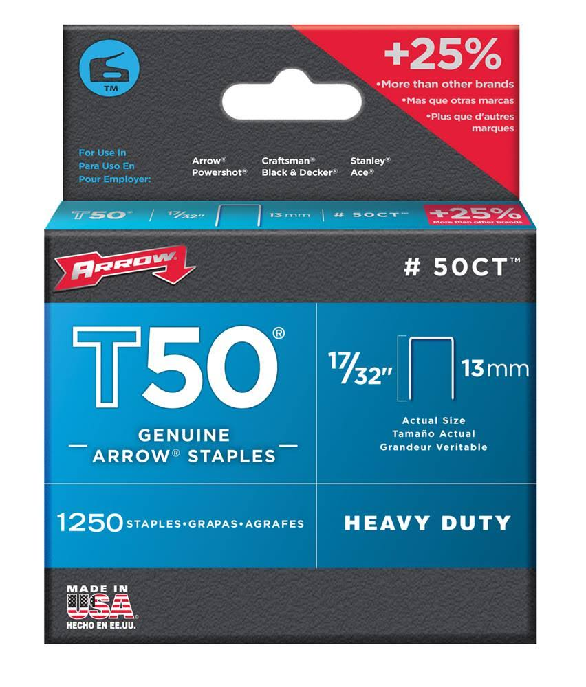 Arrow Fastener T50 Tile Staples - 13mm, 1250 Staples