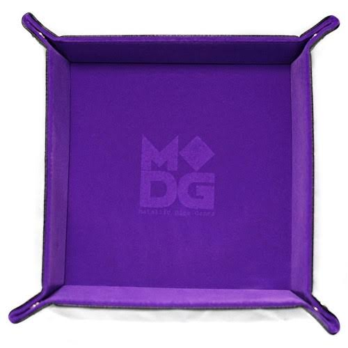 Metallic Dice Games - Velvet Folding Dice Tray-Purple Leather