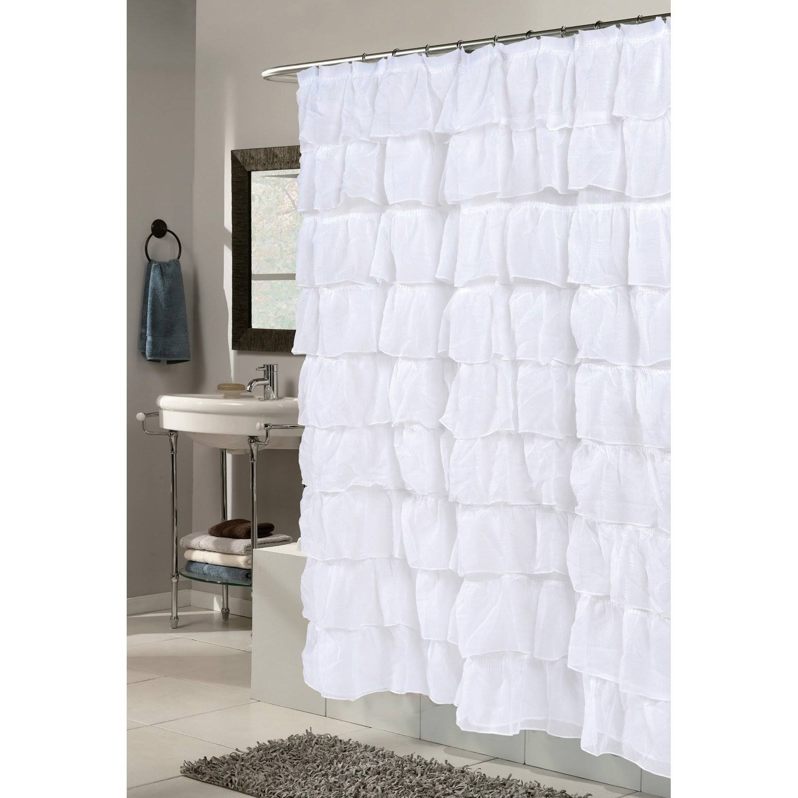 Carnation Home Fashions Carmen Polyester Shower Curtain White