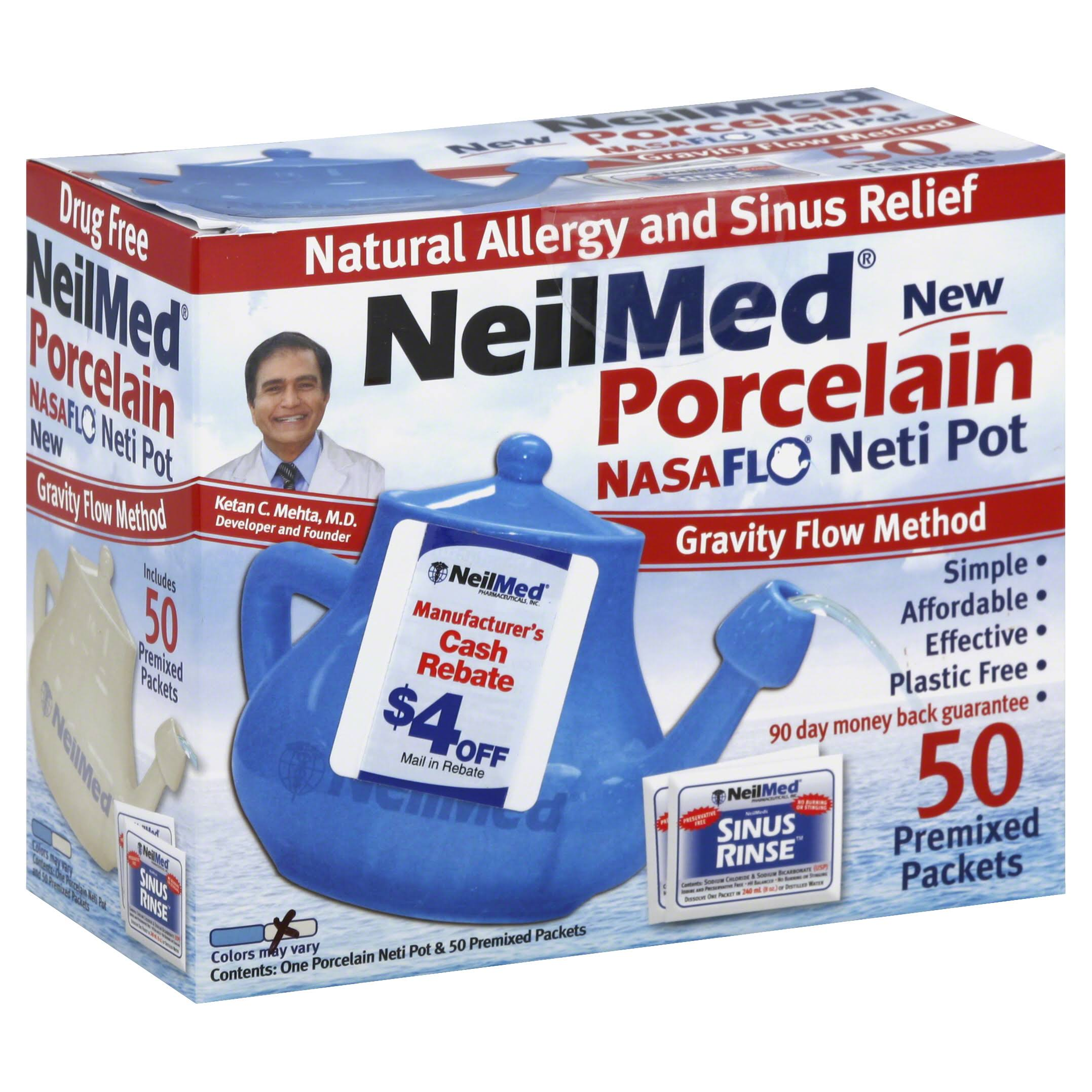 NeilMed NasaFlo Sinus Relief Porcelain Neti Pot - with 50 Sachets