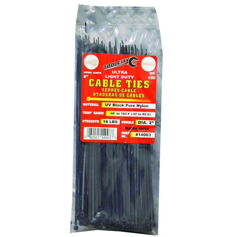 "Tool City 14003 Cable Tie - Black, 8"", 100pk"