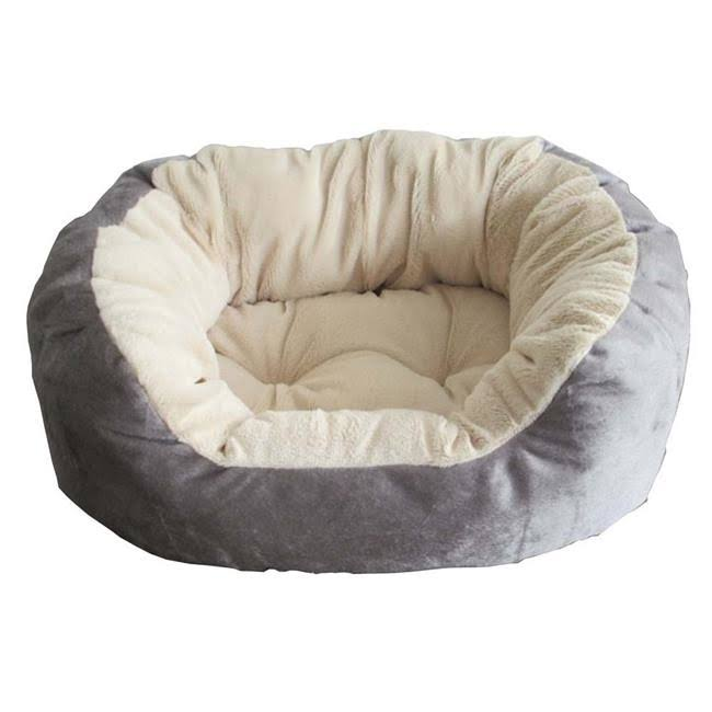 Ethical Pet Products | Short Hair Plush Bed 34 x 29 x 9 Blue/Grey | Blazin' Pets