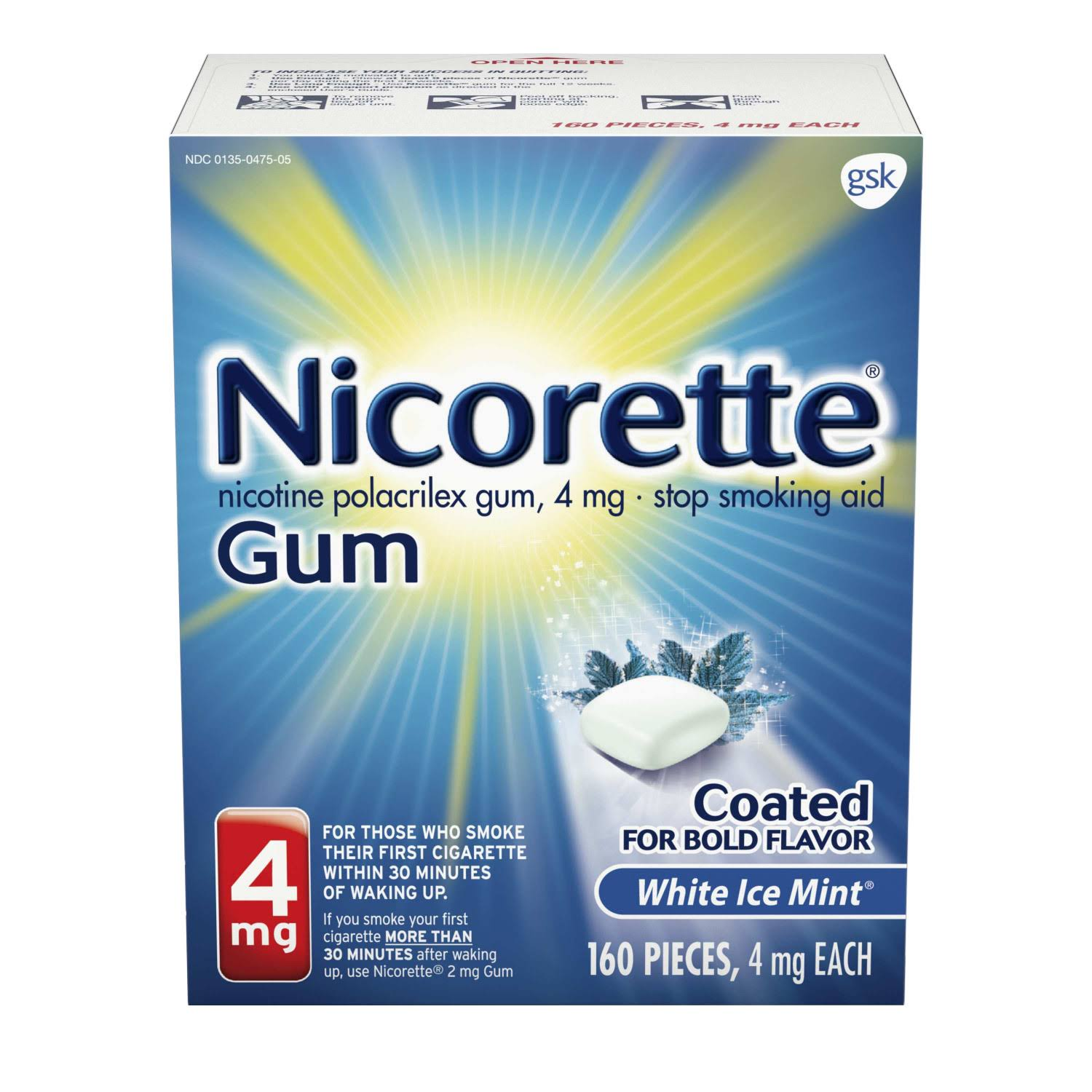 Nicorette Coated White Ice Gum - 160ct, 4mg