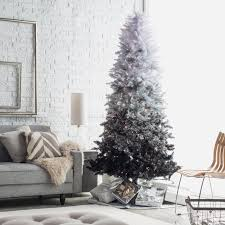7ft Black Pencil Christmas Tree by 7 Ft Sage Frosted Hard Needle Pre Lit Christmas Tree Hayneedle