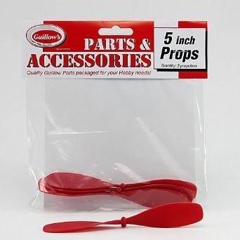 "Guillows Plastic Propellers - Red, 5"", 3 Pack"