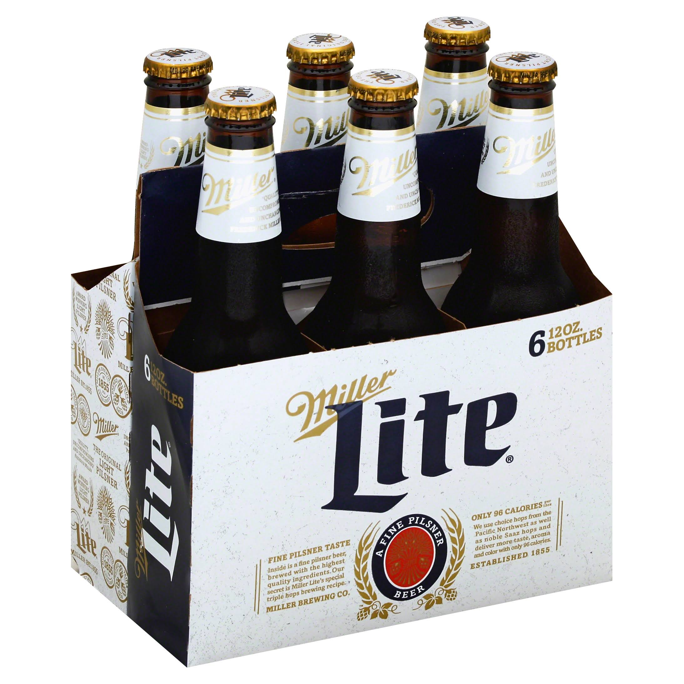 Miller Brewing Miller Lite Beer - 6 Bottles