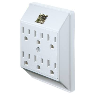 Master Electrician PS23U-WH 6-Grounded Outlet In-Wall Adapter - White