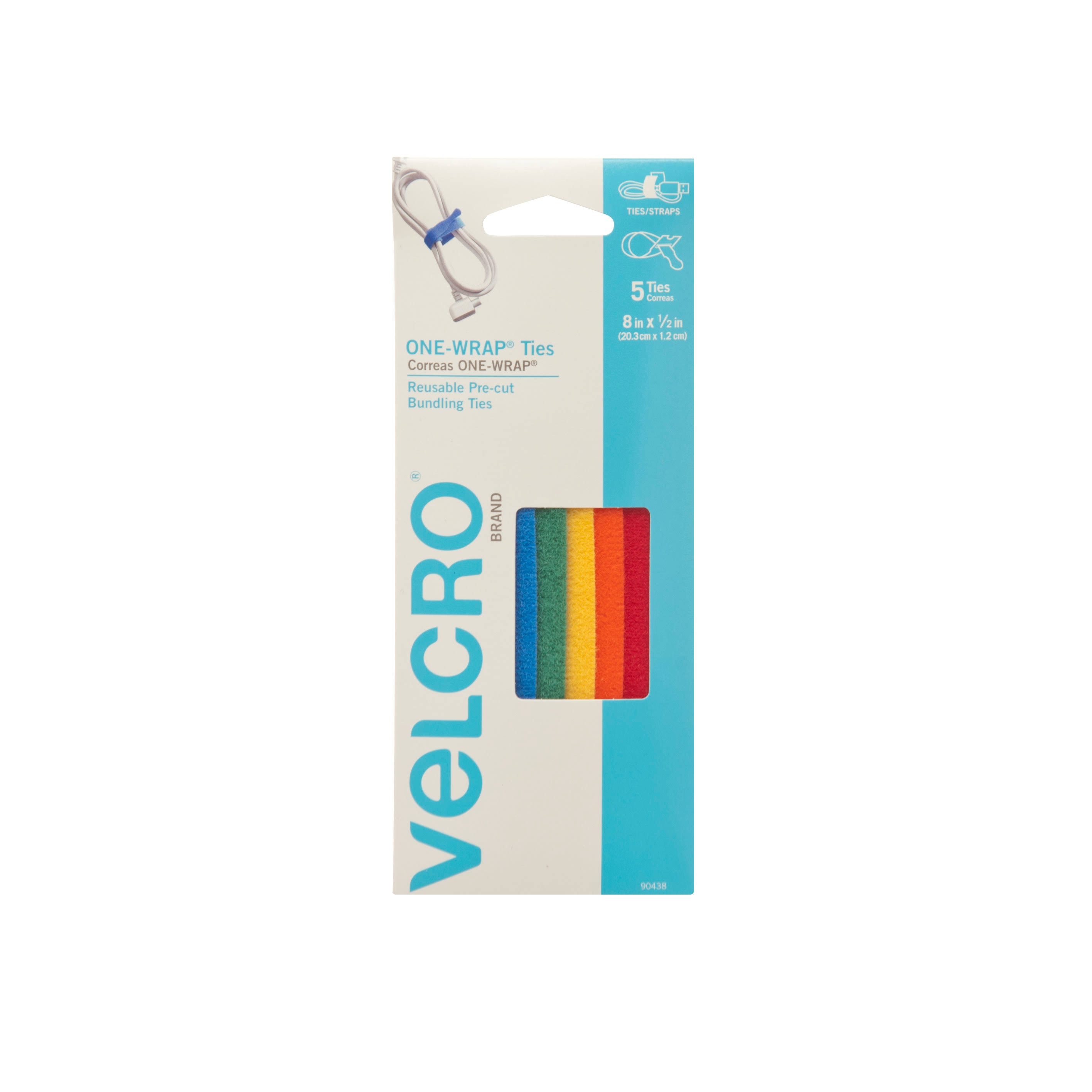 Velcro Multi-Color One-Wrap Straps - 8 x 1/2'', 5 Pack