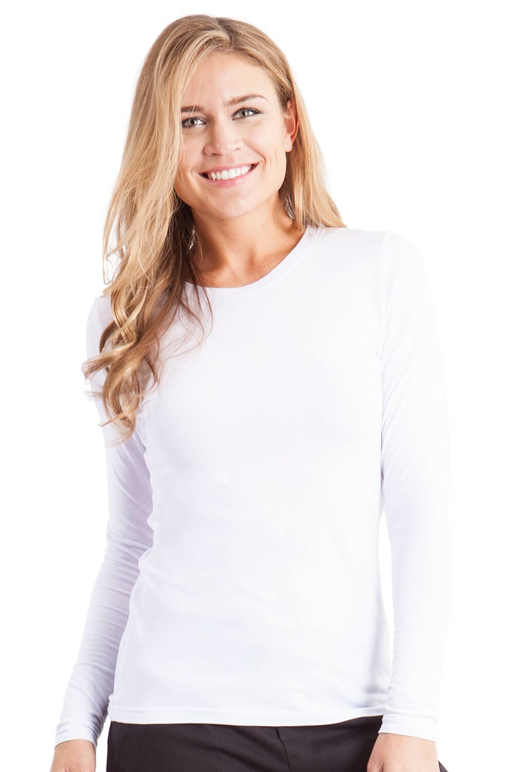 Healing Hands Womens Cotton Solid Casual Top - White, XX-Large