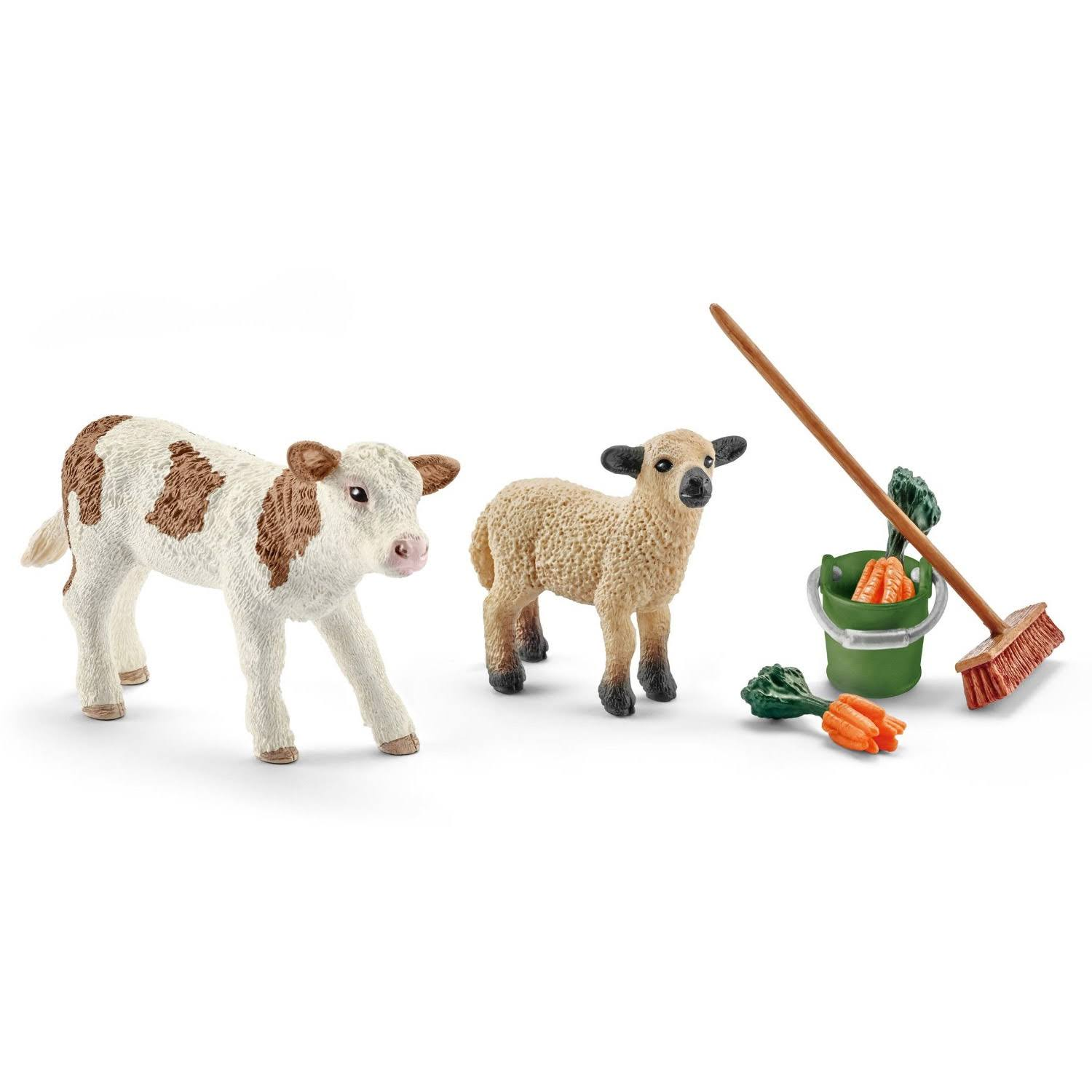 Schleich Stable Cleaning Kit with Calf and Lamb