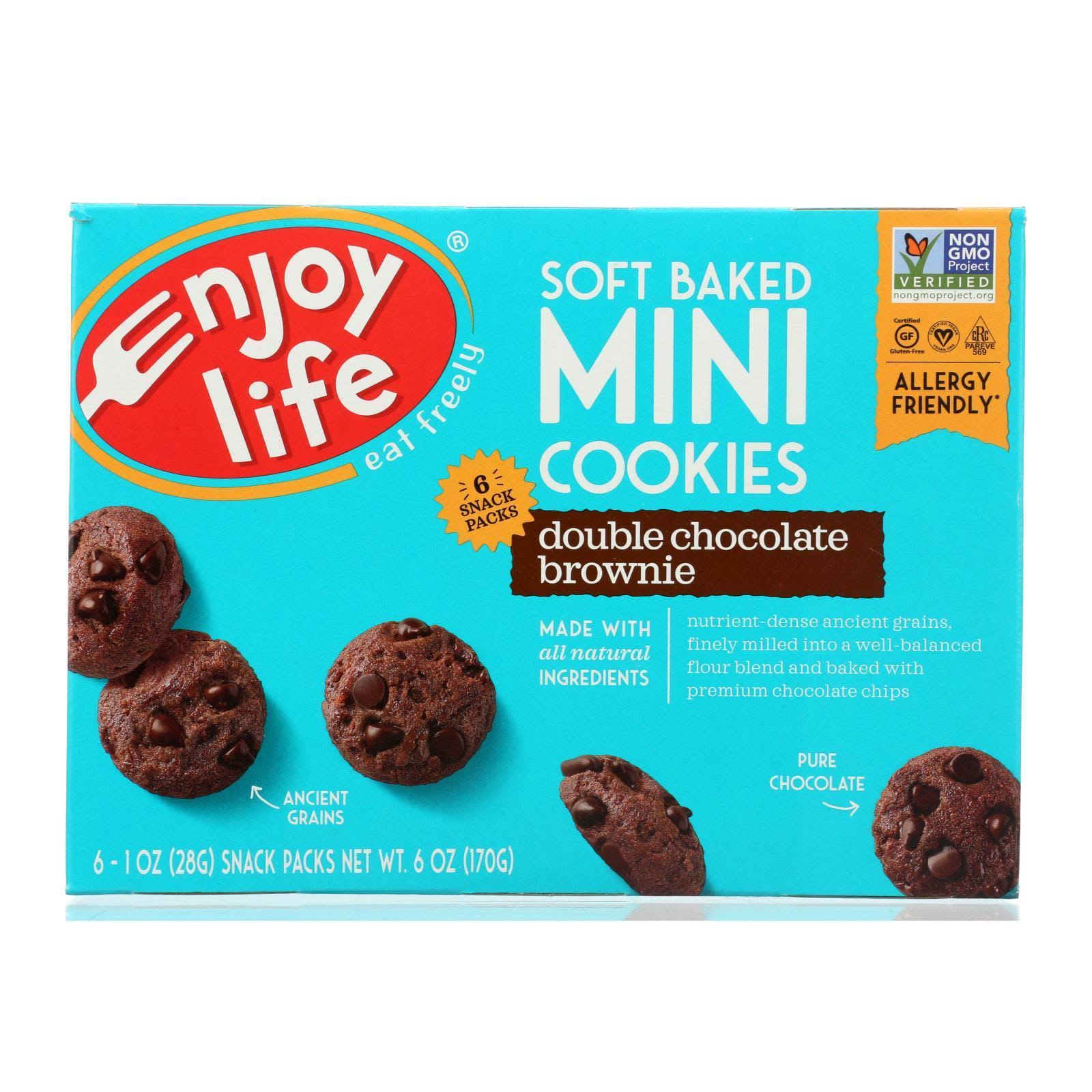 Enjoy Life Foods Soft Baked Mini Cookies Snack - Double Chocolate Brownie, 6pk, 1oz