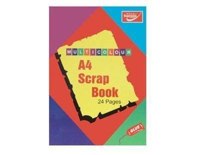 Supreme A4 12 Sheet/24 Page Coloured Scrap Book By Supreme Stationery