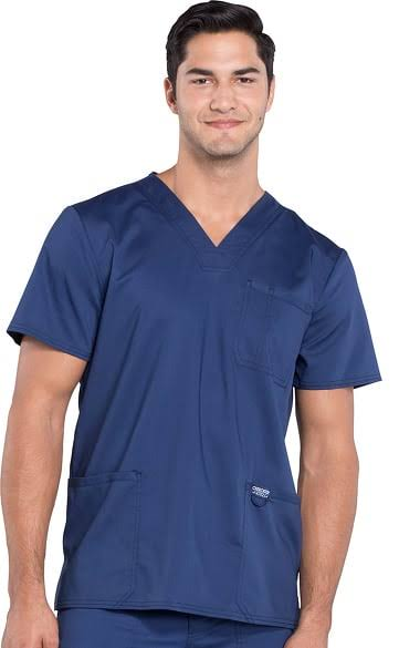 Cherokee Workwear Revolution Men's V-Neck Scrub Top - S - Navy