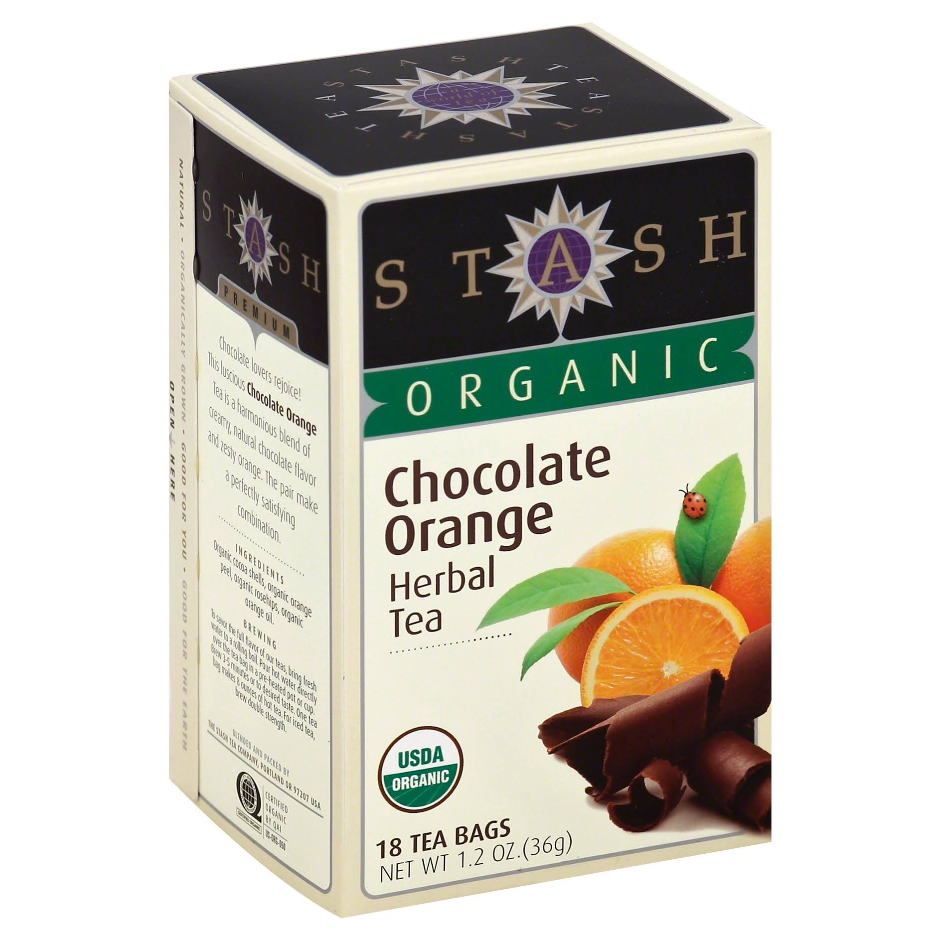 Stash Tea Organic Chocolate Orange Herbal Tea - 18 Tea Bags