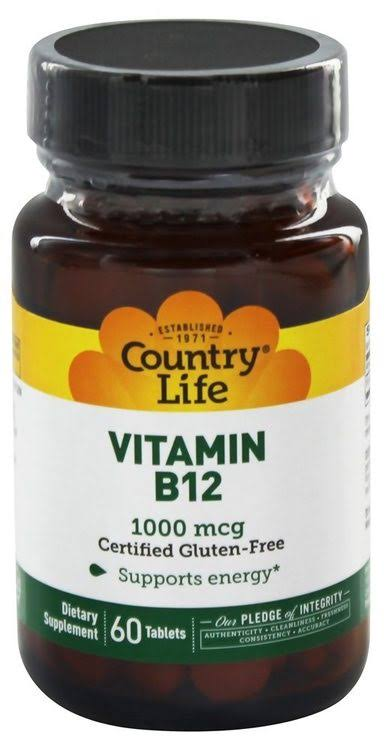 Country Life Vitamin B12 Supplement - 1000mcg, 60ct