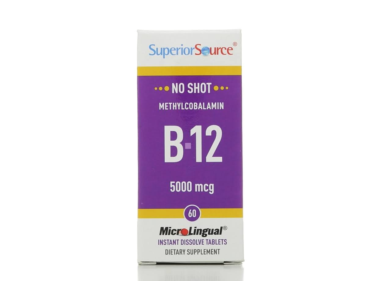 Superior Source No Shot Methylcobalamin B-12 - 5000mcg, 60 Instant Dissolve Tablets