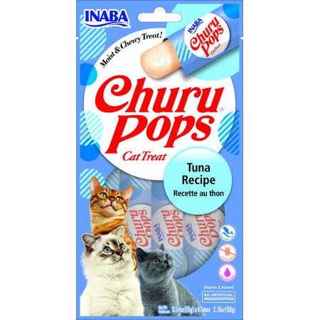Inaba Churu Pops Moist & Chewy Tuna Recipe Lickable Cat Treats, 0.54-oz Tube, Pack of 24