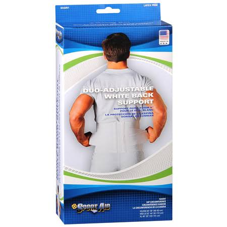 Sport-aid Back Support - Duo-adjustable, White, Medium /Large