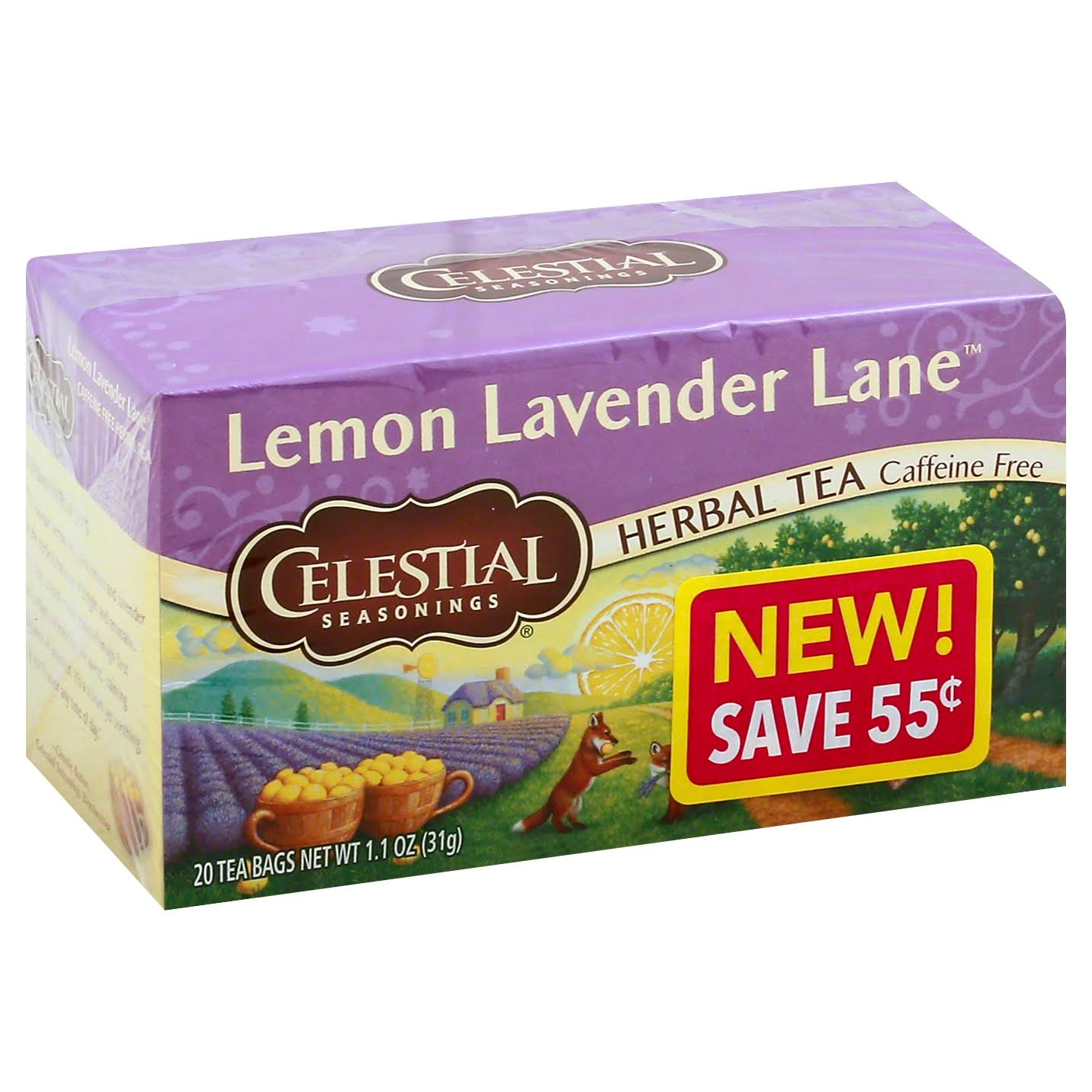 Celestial Seasonings Herbal Tea, Lemon Lavender Lane, Caffeine Free, Bags - 20 tea bags, 1.1 oz