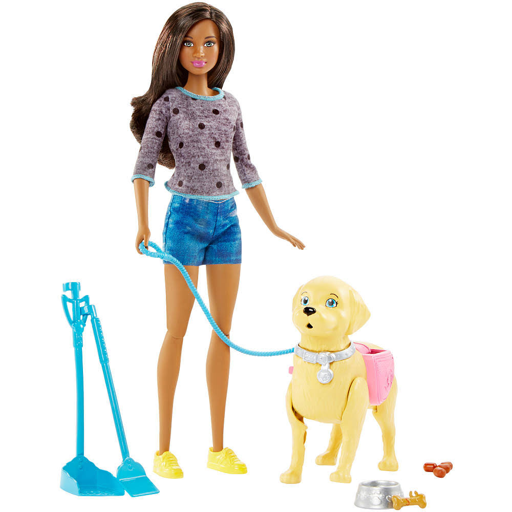 Mattel DWJ69 Barbie Girls Walk And Potty Pup With Doll