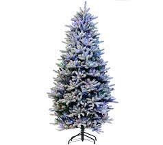 Bethlehem Lights Christmas Trees Qvc by Santa U0027s Best 7 5 U0027 Rgb 2 0 Flocked Balsam Fir Christmas Tree U2014 Qvc Com