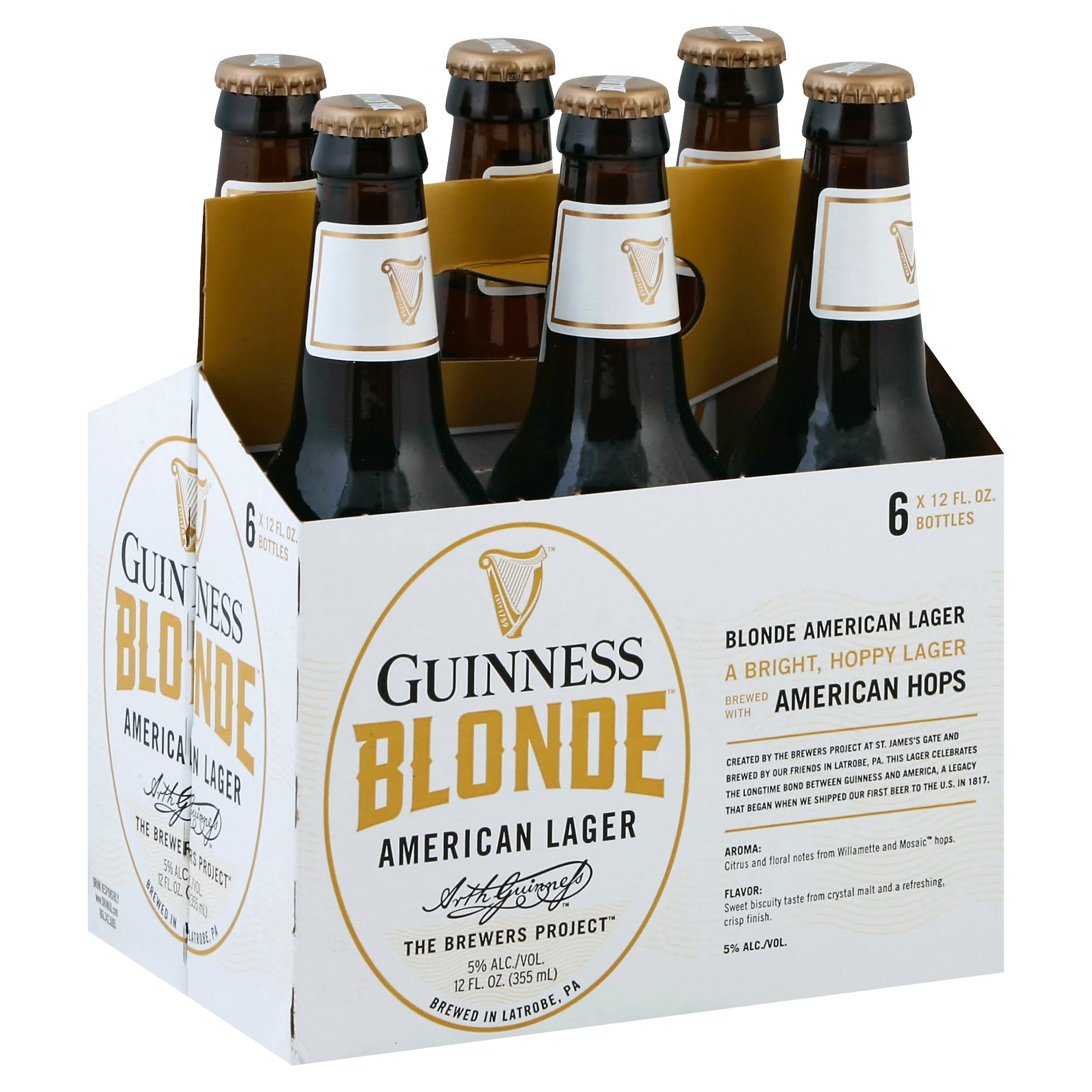 Guinness Beer, American Lager, Blonde - 6 pack, 12 fl oz bottles