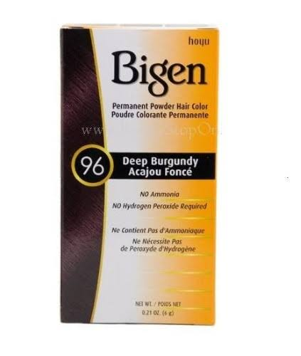 Bigen Permanent Powder Hair Color - 96 Deep Burgundy, 0.21oz